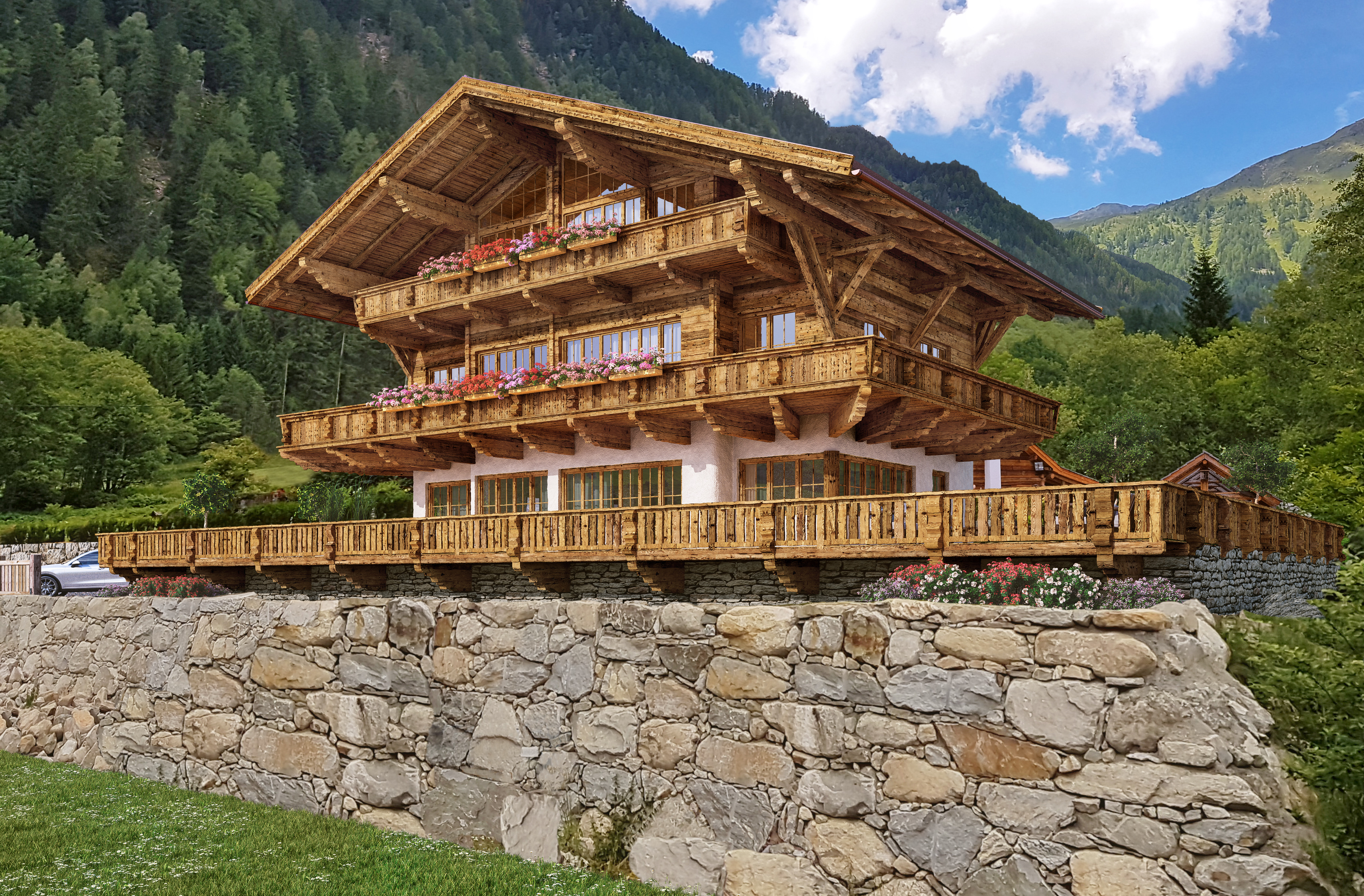 Grand Chalet Altholzchalet Musterhausanlage Innerfragant